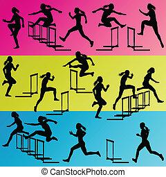 aktive, frauen, m�dchen, sport, athletik, hürden, sperre, rennender , silhouetten, abbildung, sammlung, hintergrund, vektor