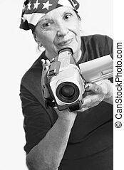 aktive, grandmama, fotoapperat, digital
