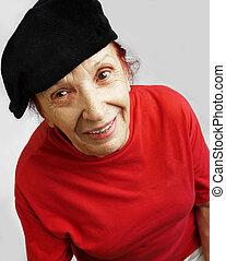 aktive, grandmama, in, schwarz, kappe