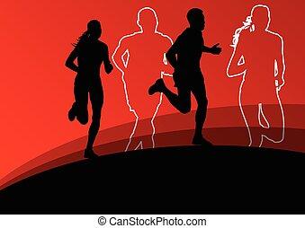 aktive, läufer, athletik, sport, frauen