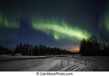 aktive, nördliche lichter, textanzeige, in, alaska