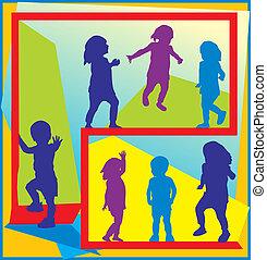 aktive, posen, verschieden, kleinkinder