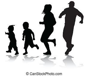 aktive, silhouetten, familie