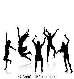 aktive, silhouetten, glückliche frauen