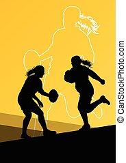 aktive, spieler, rugby, junge frauen