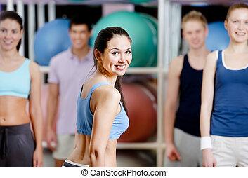 aktive, turnhalle, personengruppe