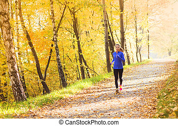 aktive, und, sportliche , frau, läufer, in, herbst, natur