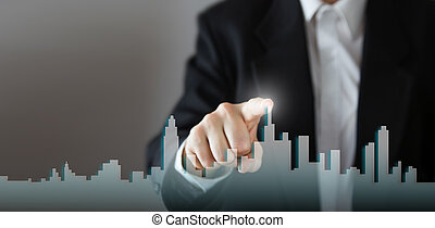 aktivieren, gut, haus, haus, drücken, wählen, stadt, kopie, networking, raum, concept., virtuell, internet, echte , prozess, screen., hand, geschaeftswelt, ikone, technologie, skyline, wachstum, geschäftsmann