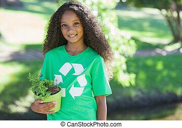 aktivista, fiatal, smilin, környezeti