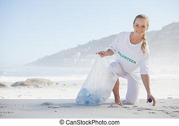 aktivista, szemét, mellékkereset, szőke, tengerpart