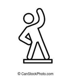 aktivität, warmlaufen, ikone