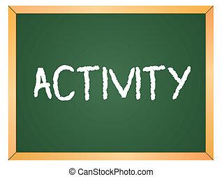 aktivität, wort, auf, tafel