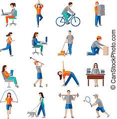 aktivitet, fysisk, iconerne