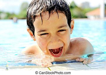 aktiviteter, barn, slå samman, simning