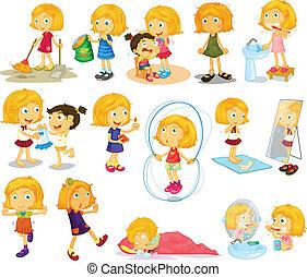 aktiviteter, blondie's, ung, dagligen