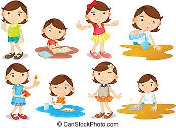 aktiviteter, flicka, ung, dagligen