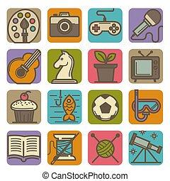 aktiviteter, sätta, ikonen, fritid, lysande, tid, hobby