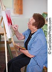 aktivní, malba, starší, volno, líčit