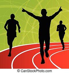 aktivní, sanice, atletika, muži, sport