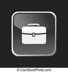 aktovka, ikona, dále, čtverec, pavučina, knoflík, a, temný grafické pozadí