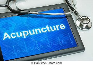 akupunktúra, szöveg, bemutatás, tabletta