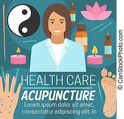 akupunktur, medicin, vård- alternativ, omsorg