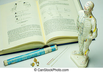 akupunktur stift, och, lärobok