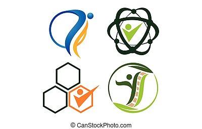 akupunktura, komplet, szablon, akupunktura