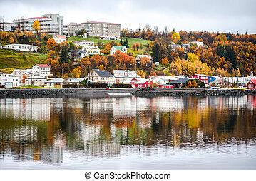 Akureyri in autumn of Iceland