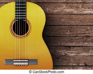 akustikgitarre, auf, holz, hintergrund