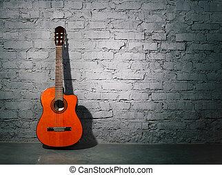 akustikgitarre, lehnen, grungy, wand