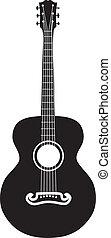 akustikgitarre, silhouette