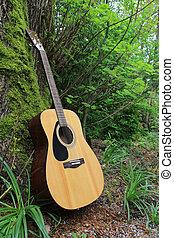 akustisk gitarr, luta mot, a, mossa, höjande, träd.