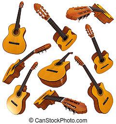akustyczny, guitar., komplet, klasyczny