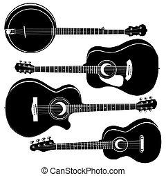 akustyczny, sylwetka, wektor, gitary