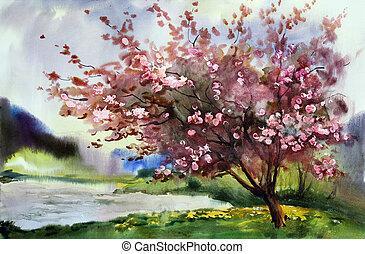 akvarel, krajina, s, kvetoucí, pramen, strom, s, flowers.