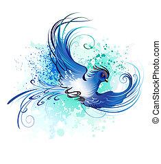 akwarela, błękitny ptaszek