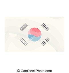 akwarela, bandera, korea południe
