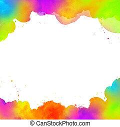 akwarela, barwiony, abstrakcyjny, tło, ręka