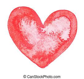 akwarela, barwiony, czerwone serce