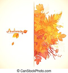 akwarela, barwiony, jesień, projektować, liście, chorągiew, czerwony