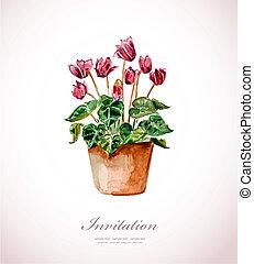 akwarela, dom, vase., kwiaty
