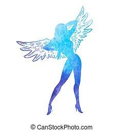 akwarela, dziewczyna, anioł