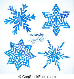 akwarela, komplet, płatki śniegu