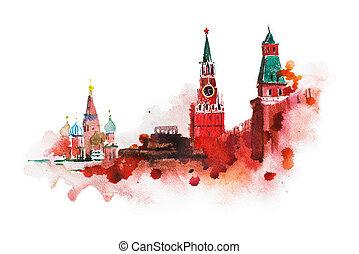 akwarela, kreml, skwer, rysunek, czerwony