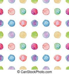akwarela, kropka polki, seamless, pattern.