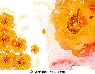 akwarela, kwiat