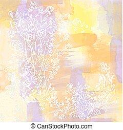 akwarela, kwiatowy, abstrakcyjny, karta, tło