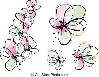 akwarela, kwiaty, abstrakcyjny, wektor