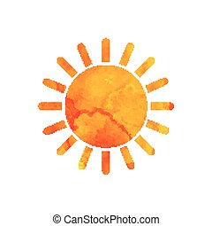 akwarela, lato, wektor, sun., design.